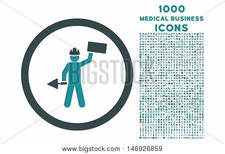 Builder With Shovel rounded glyph bicolor icon with 1000 medical business icons. Set style is flat pictograms, soft blue colors, white background.