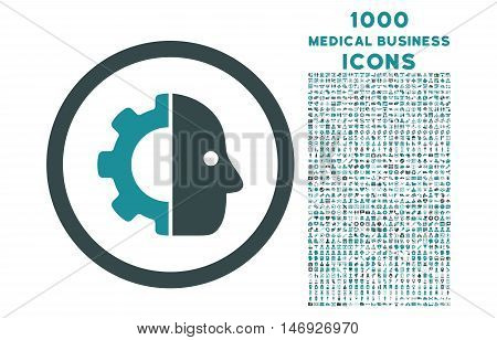 Cyborg rounded glyph bicolor icon with 1000 medical business icons. Set style is flat pictograms, soft blue colors, white background.