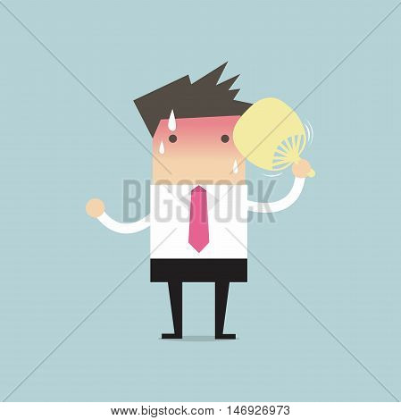 Businessman very hot with folding fan blow