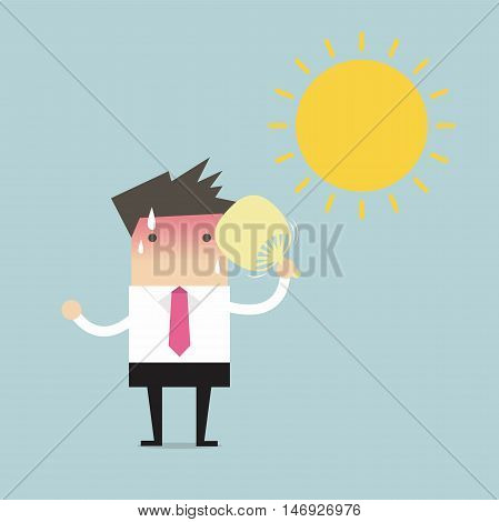 Businessman very hot with folding fan blow and the sun