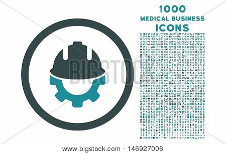 Development rounded glyph bicolor icon with 1000 medical business icons. Set style is flat pictograms, soft blue colors, white background.