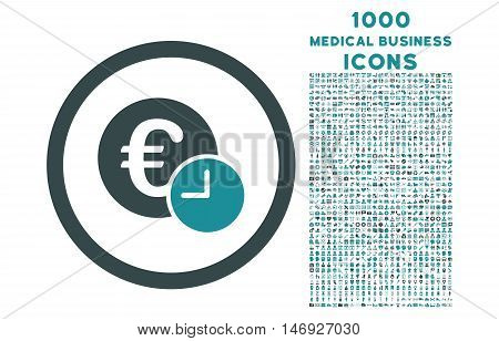 Euro Credit rounded glyph bicolor icon with 1000 medical business icons. Set style is flat pictograms, soft blue colors, white background.