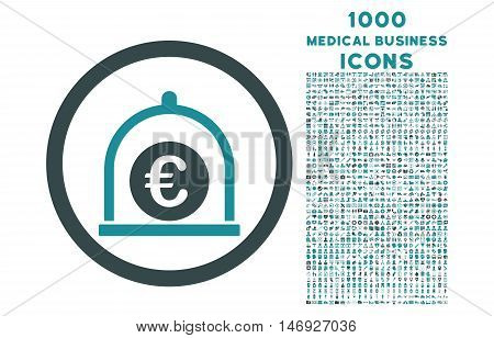 Euro Standard rounded glyph bicolor icon with 1000 medical business icons. Set style is flat pictograms, soft blue colors, white background.