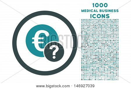 Euro Status rounded glyph bicolor icon with 1000 medical business icons. Set style is flat pictograms, soft blue colors, white background.