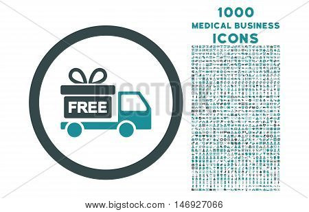 Gift Delivery rounded glyph bicolor icon with 1000 medical business icons. Set style is flat pictograms, soft blue colors, white background.