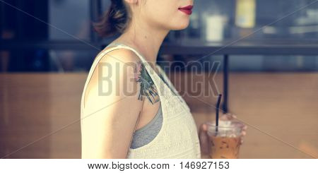 Woman Sitting Alone Drink Cafe Concept