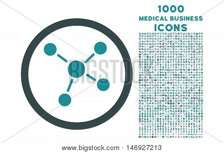 Links rounded glyph bicolor icon with 1000 medical business icons. Set style is flat pictograms, soft blue colors, white background.