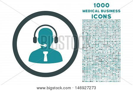 Reception Operator rounded glyph bicolor icon with 1000 medical business icons. Set style is flat pictograms, soft blue colors, white background.