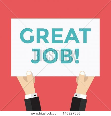 Hands hold great Job sign vector illustration