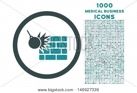 Wall Destruction rounded glyph bicolor icon with 1000 medical business icons. Set style is flat pictograms, soft blue colors, white background.