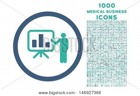 Bar Chart Presentation rounded glyph bicolor icon with 1000 medical business icons. Set style is flat pictograms, cobalt and cyan colors, white background.