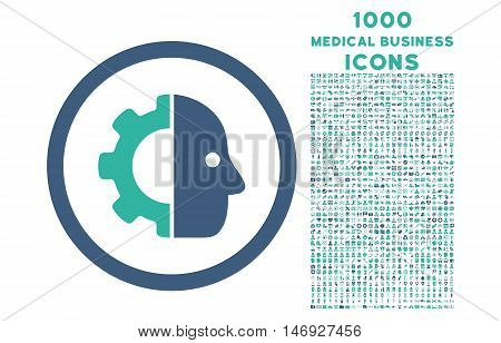 Cyborg rounded glyph bicolor icon with 1000 medical business icons. Set style is flat pictograms, cobalt and cyan colors, white background.