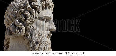 River Tiber god monumental roman statue in Capitol Square Rome on black background with copy space (4th century AD)