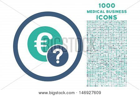 Euro Status rounded glyph bicolor icon with 1000 medical business icons. Set style is flat pictograms, cobalt and cyan colors, white background.
