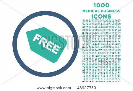 Free Sticker rounded glyph bicolor icon with 1000 medical business icons. Set style is flat pictograms, cobalt and cyan colors, white background.