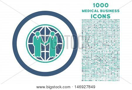 Global Partnership rounded glyph bicolor icon with 1000 medical business icons. Set style is flat pictograms, cobalt and cyan colors, white background.
