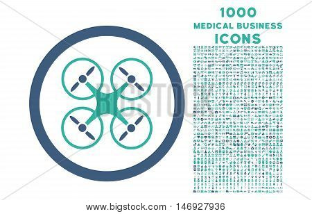 Nanocopter rounded glyph bicolor icon with 1000 medical business icons. Set style is flat pictograms, cobalt and cyan colors, white background.