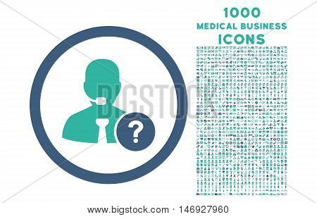 Online Support rounded glyph bicolor icon with 1000 medical business icons. Set style is flat pictograms, cobalt and cyan colors, white background.