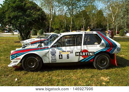 Mogliano VenetoItaly Sept 112016:Photo of a Lancia Rally S4 and 037 at meeting Top Selection 2016.The Delta S4 competed in the World Rally Championship in 1985 and 1986 until Group B class was disbanded.