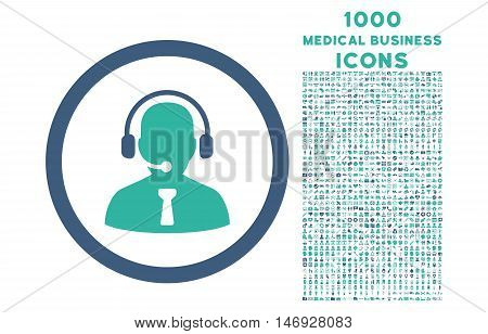 Reception Operator rounded glyph bicolor icon with 1000 medical business icons. Set style is flat pictograms, cobalt and cyan colors, white background.