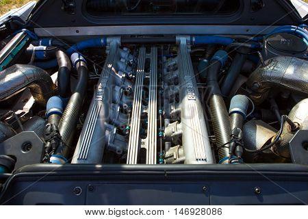 Mogliano VenetoItaly Sept 112016:Photo of a Bugatti EB 110 at meeting Top Selection 2016.The Bugatti EB 110 was a mid-engine sports car produced by Bugatti Automobili S.p.A. from 1991 to 1995 when the company went bankrupt.