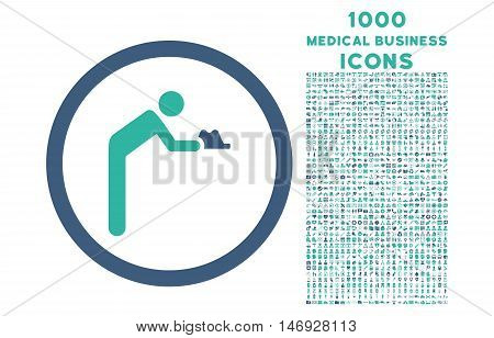 Servant rounded glyph bicolor icon with 1000 medical business icons. Set style is flat pictograms, cobalt and cyan colors, white background.