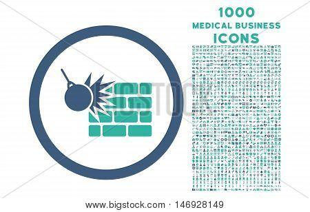 Wall Destruction rounded glyph bicolor icon with 1000 medical business icons. Set style is flat pictograms, cobalt and cyan colors, white background.