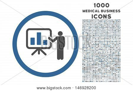 Bar Chart Presentation rounded glyph bicolor icon with 1000 medical business icons. Set style is flat pictograms, cobalt and gray colors, white background.
