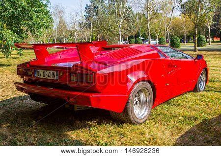 Mogliano VenetoItaly Sept 112016:Photo of a Lamborghini 25th Anniversary Countach at meeting Top Selection 2016. Named to honour the company's twenty-fifth anniversary in 1988 the 25th Anniversary Countach.