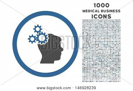 Business Idea rounded glyph bicolor icon with 1000 medical business icons. Set style is flat pictograms, cobalt and gray colors, white background.