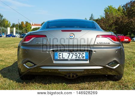 Mogliano VenetoItaly Sept 112016:Photo of a Fisker Karma es at meeting Top Selection 2016. The company's first product was the Fisker Karma one of the world's first production plug-in hybrid electric vehicles.