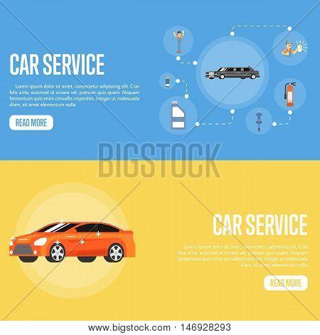 Flat horizontal banners car repair service concept vector illustration