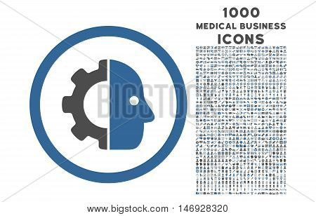 Cyborg rounded glyph bicolor icon with 1000 medical business icons. Set style is flat pictograms, cobalt and gray colors, white background.