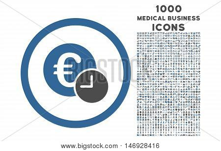 Euro Credit rounded glyph bicolor icon with 1000 medical business icons. Set style is flat pictograms, cobalt and gray colors, white background.
