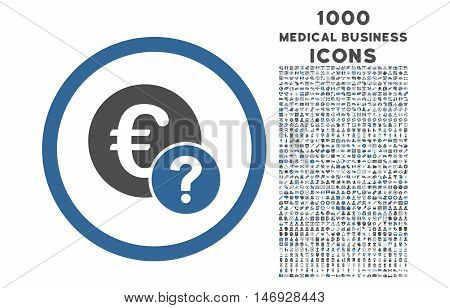 Euro Status rounded glyph bicolor icon with 1000 medical business icons. Set style is flat pictograms, cobalt and gray colors, white background.