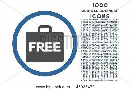 Free Accounting rounded glyph bicolor icon with 1000 medical business icons. Set style is flat pictograms, cobalt and gray colors, white background.