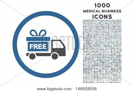Gift Delivery rounded glyph bicolor icon with 1000 medical business icons. Set style is flat pictograms, cobalt and gray colors, white background.