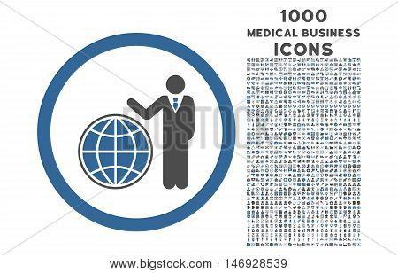 Global Manager rounded glyph bicolor icon with 1000 medical business icons. Set style is flat pictograms, cobalt and gray colors, white background.