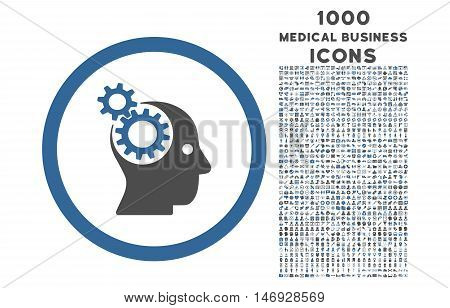 Intellect Gears rounded glyph bicolor icon with 1000 medical business icons. Set style is flat pictograms, cobalt and gray colors, white background.