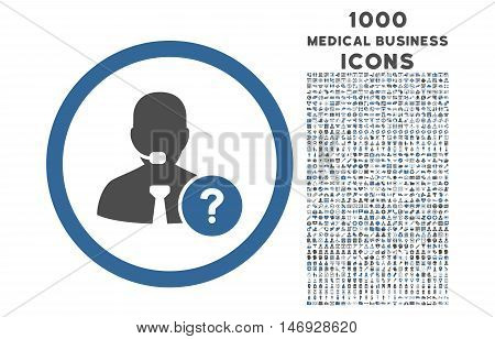 Online Support rounded glyph bicolor icon with 1000 medical business icons. Set style is flat pictograms, cobalt and gray colors, white background.