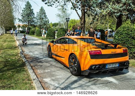 Mogliano VenetoItaly Sept 112016:Photo of a Lamborghini Gallardo SL Superleggera at meeting Top Selection 2016. The Lamborghini Gallardo is a sports supercar built by Lamborghini from 2003 to 2013.
