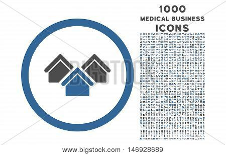 Real Estate rounded glyph bicolor icon with 1000 medical business icons. Set style is flat pictograms, cobalt and gray colors, white background.