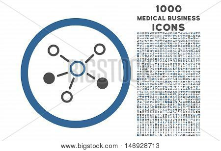 Relations rounded glyph bicolor icon with 1000 medical business icons. Set style is flat pictograms, cobalt and gray colors, white background.