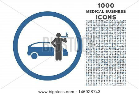 Smoking Taxi Driver rounded glyph bicolor icon with 1000 medical business icons. Set style is flat pictograms, cobalt and gray colors, white background.