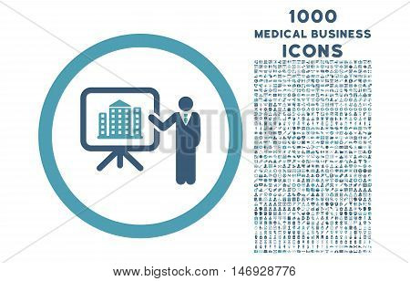 Architecture Presentation rounded glyph bicolor icon with 1000 medical business icons. Set style is flat pictograms, cyan and blue colors, white background.