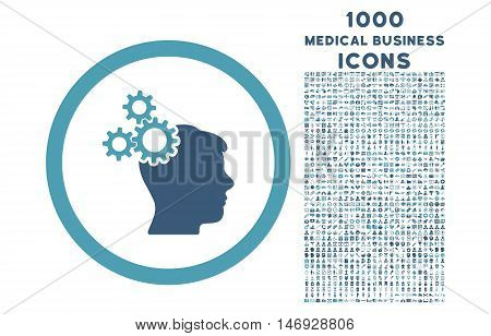 Business Idea rounded glyph bicolor icon with 1000 medical business icons. Set style is flat pictograms, cyan and blue colors, white background.
