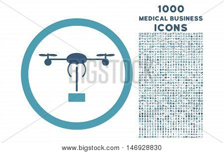 Copter Shipment rounded glyph bicolor icon with 1000 medical business icons. Set style is flat pictograms, cyan and blue colors, white background.