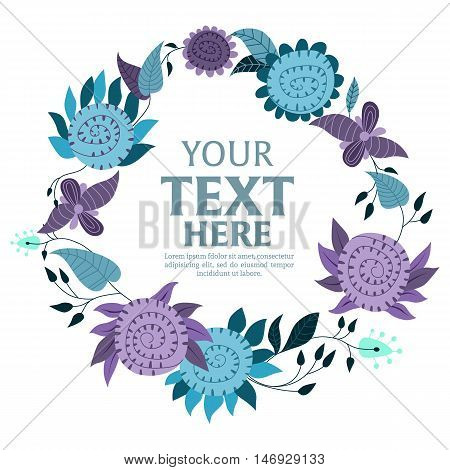 Flower wreath isolated on white background vector illustration