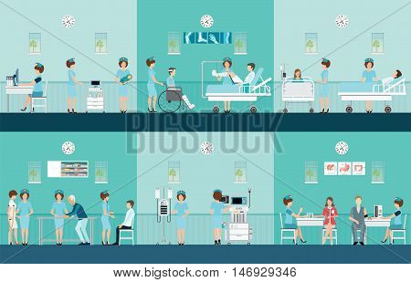 Nurse health care decorative icons set with patients needing in medical help character cartoon flat design vector illustration.