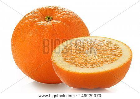 Extreme close-up image of an orange studio isolated on white background